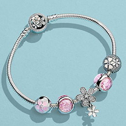 Best 100% 925 silver sterling poetic magnolia flowers fixed pink clip radiant drop dazzling daisy duo bracelet together