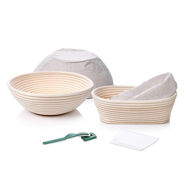 6-Piece Preserved Bread Basket 22.86cm Round + 25.40X15.24cm Oval Sourdough Baking Kit Bread Scraper,The Perfect Choice For Arti