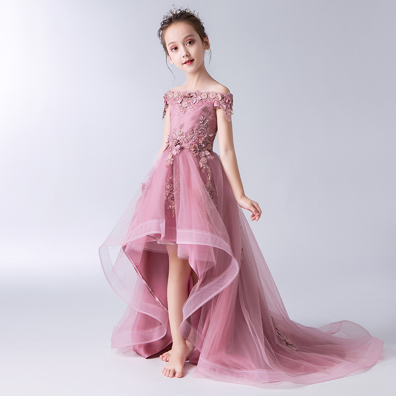 Girls Princess Dress Puffy Yarn Children Catwalks GIRL'S Evening Gown Wedding Dress Tailing Small Host Piano Costume