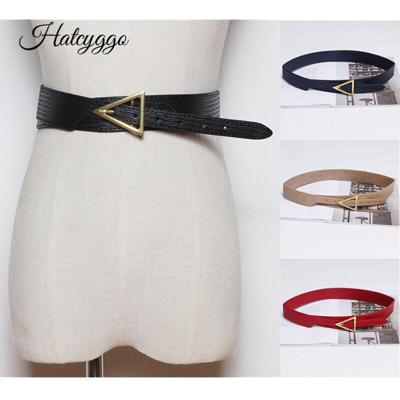 HATCYGGO New Cummerbund For Women Pu Leather Wide Belt Triangle Belts Female Black Wais Belt Trendy Designer Luxury Brand