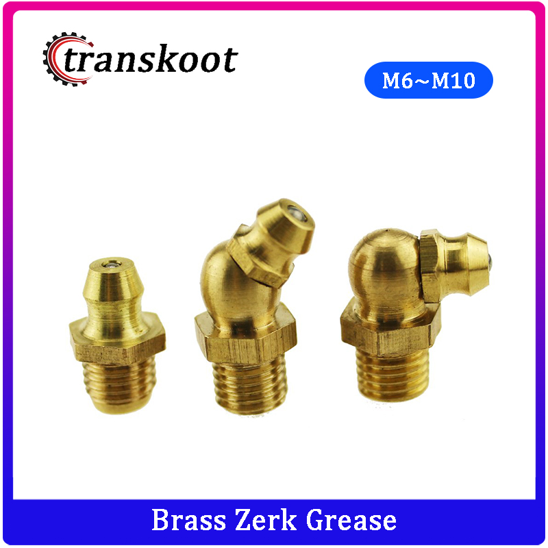 M6 M8 M10 Male Thread 1mm Pitch 45 90 Degree Straight Brass Hydraulic Zerk Grease Nipple Fittings
