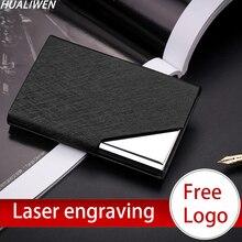 Laser Engraved LOGO Luxury Wallet PU Leather Business ID Credit Card Holder For Women Men Fashion Brand Metal Aluminum Card Case