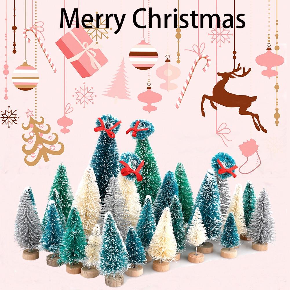 Miniature Tabletop Snow Frosted Artificial Pine Mini White Cedar Christmas Tree Desktop Small Xmas Bottle Brush Tree DIY Craft Navidad Ornament Party Centerpiece Decoration