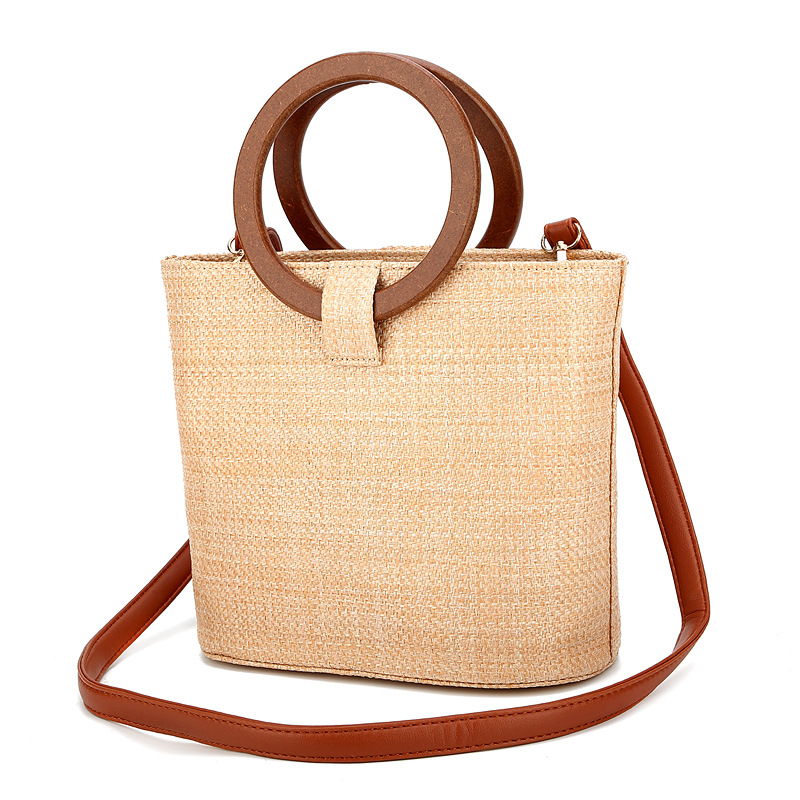 BELLELIFE Vintage Casual Straw Bag for Women Woven Beach Tote Female Handmade Shoulder Ladies Handbags Girl Travel Bags