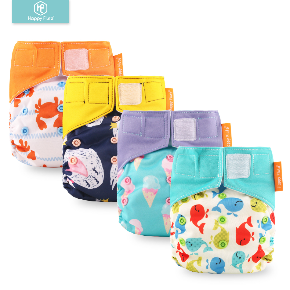 Happy Flute 1 Pcs Heavy Wetter Night AI2 Bamboo Baby Cloth Diaper One Size Fit All