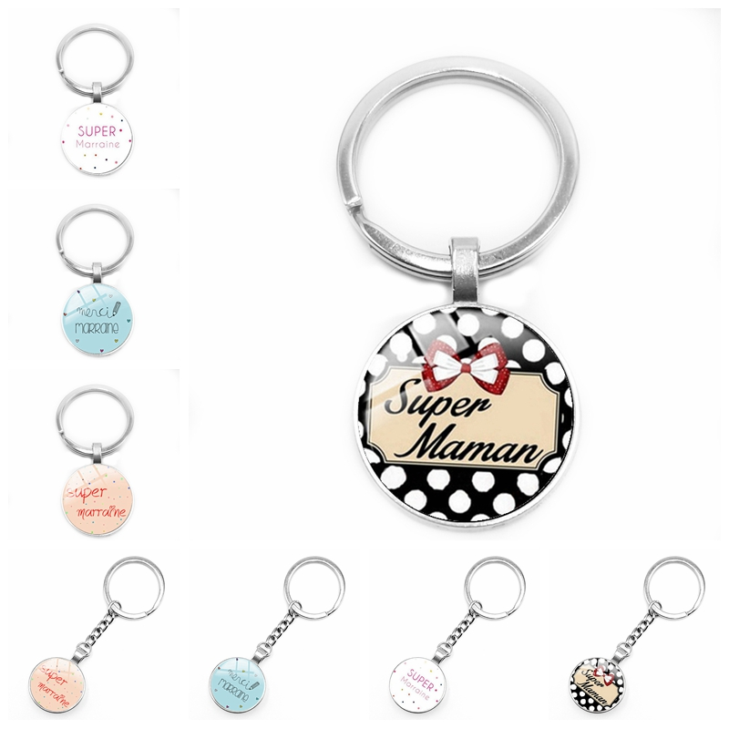 2020 New Super Godmother Godfather Keychain Glass Convex Je Suis Une Maman French Word Pendant Keychain Gift