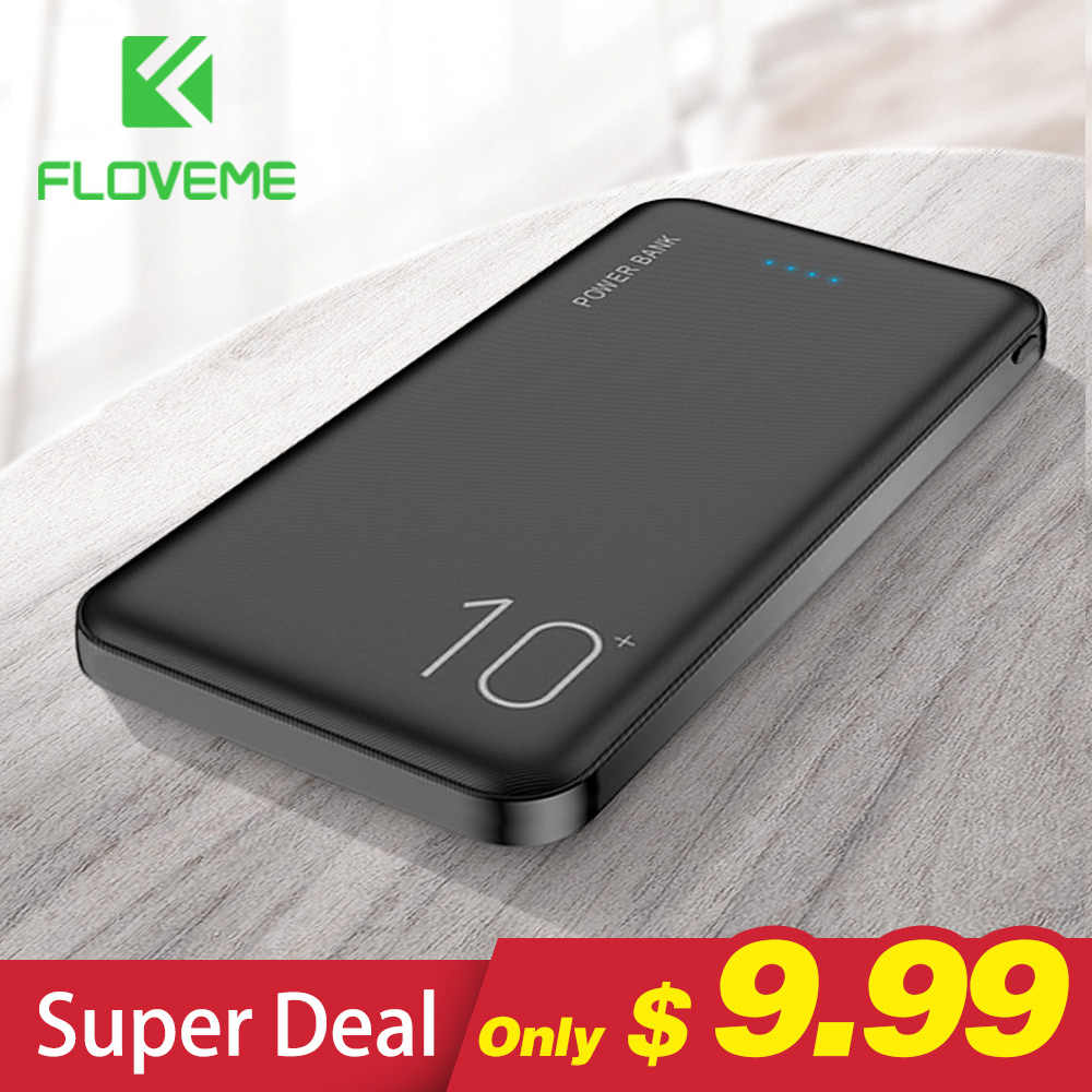 FLOVEME 10000mAh Power Bank Portable Charger Mobile Phone Digital Display External Battery Pack Dual USB Fast Charging Powerbank
