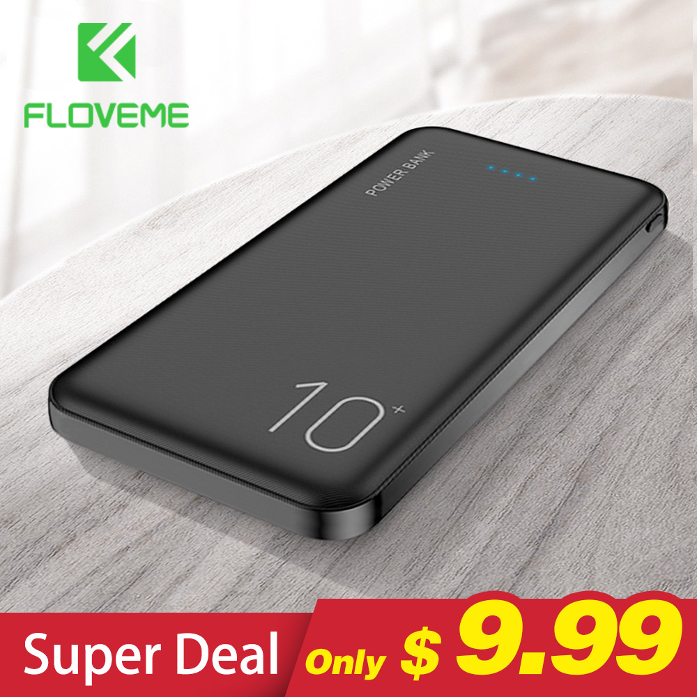 FLOVEME 10000mAh power Bank Портативное Мобильное Зарядное устройство телефон цифровой дисплей внешний аккумулятор Двойной USB быстрая зарядка power bank for ...