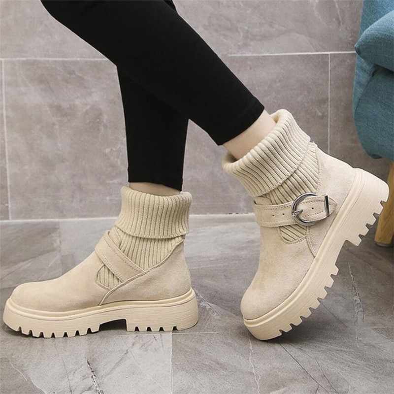 Mhysa 2019 New Fashion Platform Winter Boots Women Shoes Black Martin Boots suede Leather slip-on Ankle Boot Buckle Botas Mujer 66