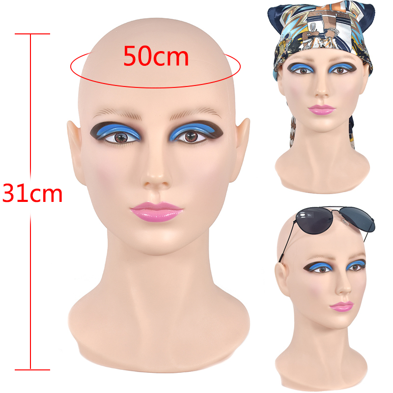 PVC Female mannequin head Wig stand Display Beautiful doll Mannequin for Wig Hair Glasses Display Stand
