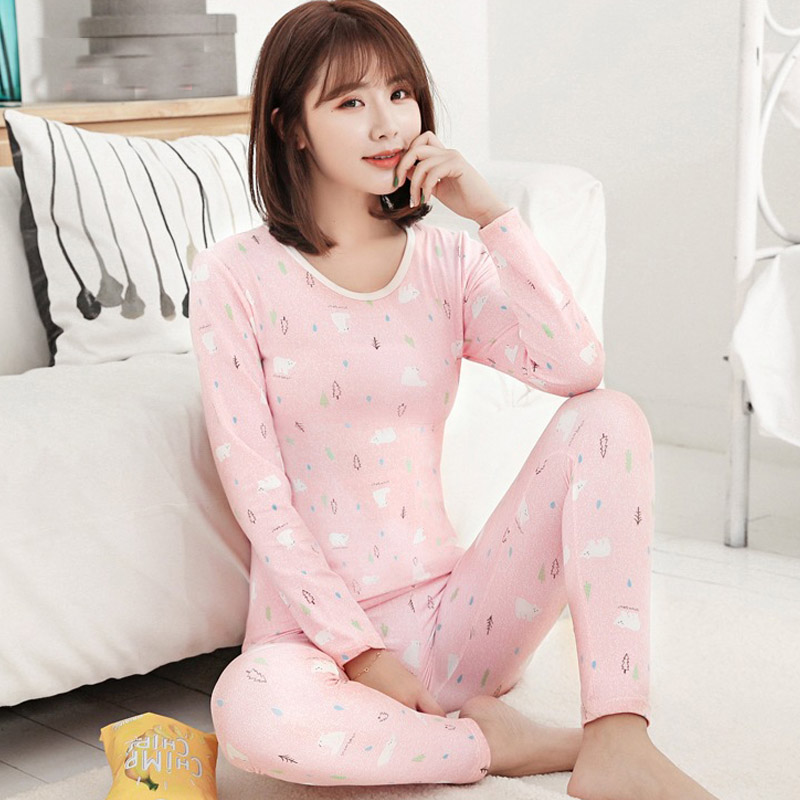 Gril's Warm Long Johns Autumn Winter Youth College Students Fashion Fleece Thermal Underwear Cartoon Cute Ladies Clothes