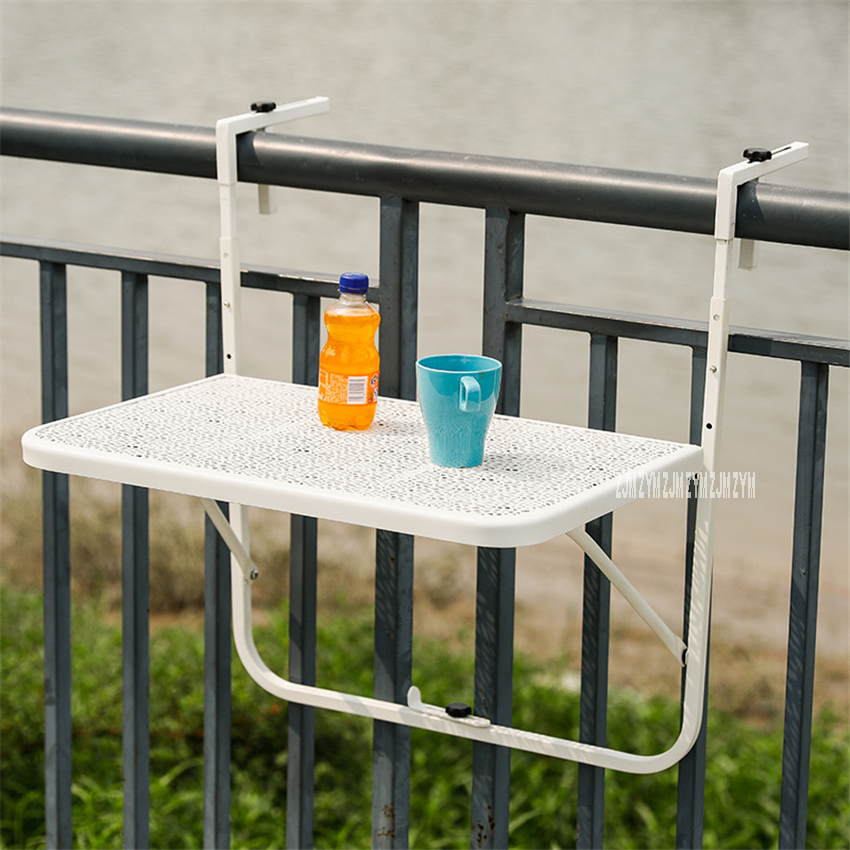 HIR1371 Small Mini European Modern Simple Garden Balcony Railing Metal Carbon Steel Wall Mounted Folding Hanging Learning Table