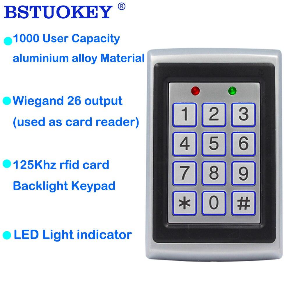 125Khz RFID Metal Access Control Keypad Waterproof Rainproof Cover Door Opener Electronic Lock System Lock Keypad WG26 Output