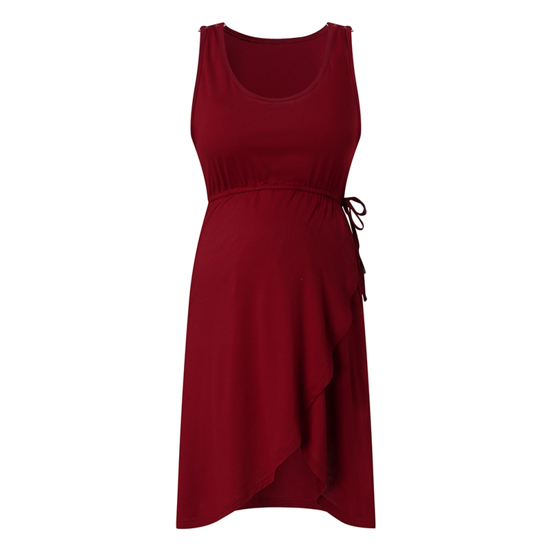 Maternity Dress Women Maternity Sleeveless Delivery Nursing Baby Nightdress Breastfeeding Dress Wine Red L