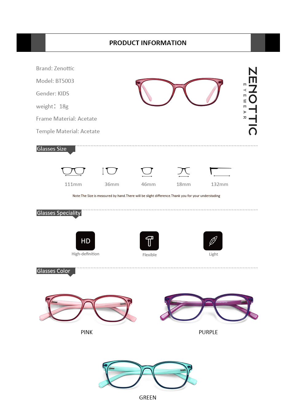 Image 5 - ZENOTTIC 2020 Acetate Children Glasses Frame Girls Boys Myopia Optical Spectacles Anti Blue Ray Lens Cute Protective EyeglassesWomens Eyewear Frames   -