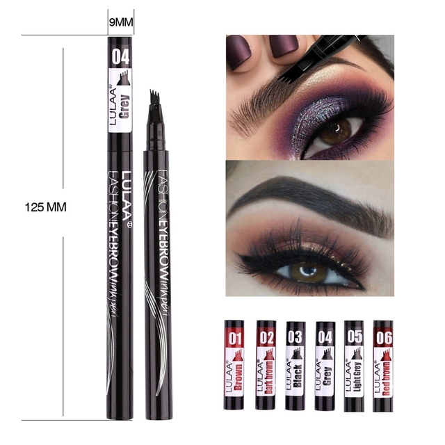 LULAA Women Makeup Sketch Liquid 4-Claw Eyebrow Pencil Waterproof Brown Eye Brow Tattoo Dye Tint Pen Liner Long Lasting Eyebrow 5