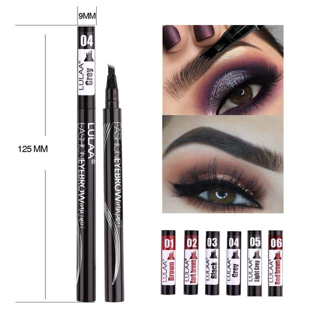 LULAA Women Makeup Sketch Liquid 4-Claw Eyebrow Pencil Waterproof Brown Eye Brow Tattoo Dye Tint Pen Liner Long Lasting Eyebrow 5