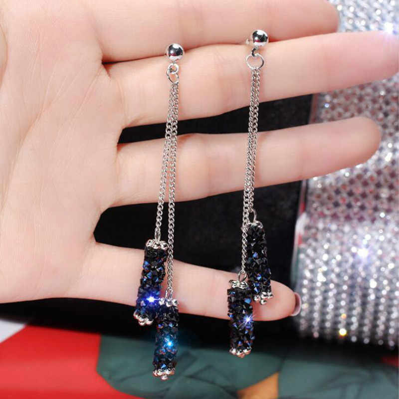 Fashion Jewelry Personality Temperament Blue Crystal Tassel Earrings Bridal Earring Oorbellen Earrings For Women Long Earrings