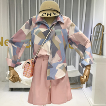 цены на 2 Piece Shorts Set Women Geometric Print Loose Blouse with Long Sleeve+Shorts To Knee Length 2019 fashion autumn women sets  в интернет-магазинах