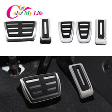 Color My Life Stainless Steel Car Pedals Kit for Volkswagen VW Multivan T5 T6 Caravelle T6 Gas Brake Pedal Protection Cover