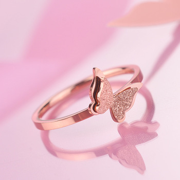 Cute Dating Ring Anillos Stainless Steel Elegant Rose Gold Color Matte 2 Layers Butterfly Rings for Women Wedding Party Jewelry 1
