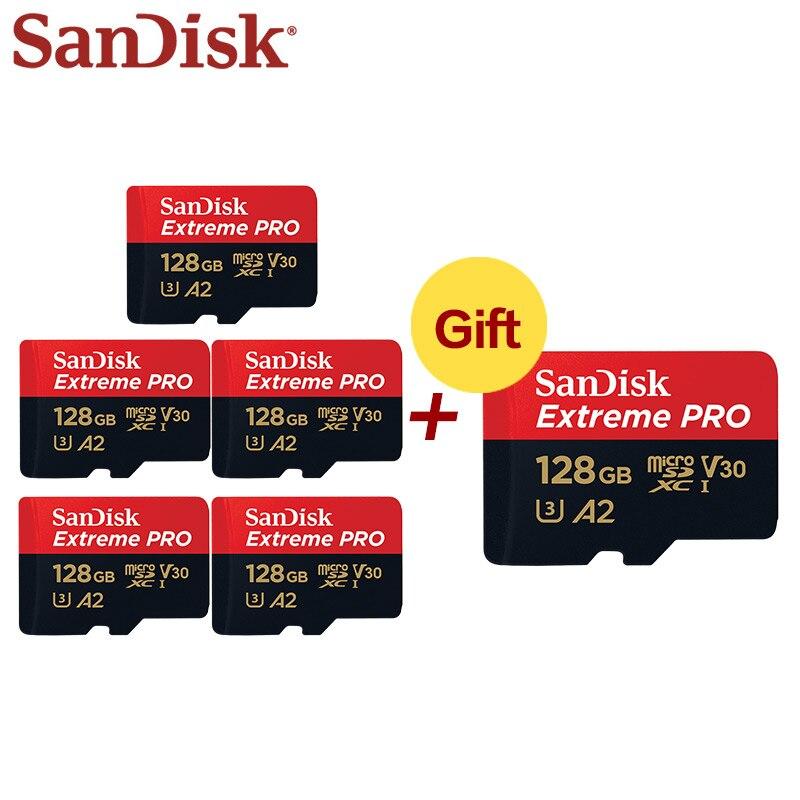 En gros SanDisk Micro carte SD 128GB UHS-I SDXC carte mémoire A2 U3 carte Flash 32GB TF carte 5 + 1 pour téléphone tablette PC