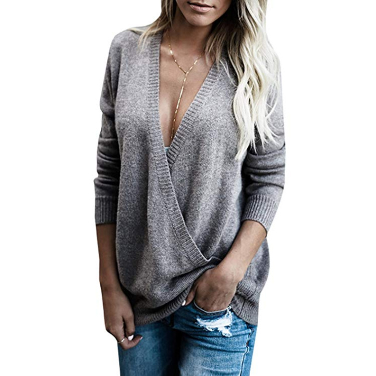 Female V-neck Fashion Knit Sweater European Style Sweater Woman Autumn Winter Long Sleeve Pullover Tops thumbnail