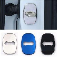 4 pçs para peugeot logo 301 308 408 508 2008 3008 4008 5008 aço inoxidável porta do carro bloqueio capa proteção adesivo acessórios