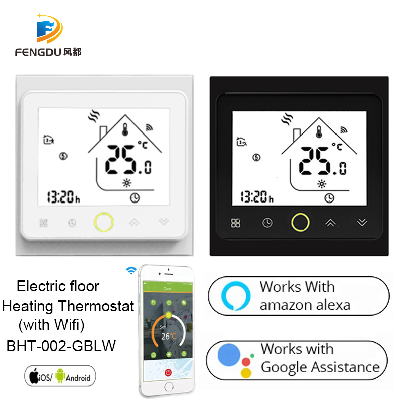 Digital Underfloor Heating Thermostat For Electric Heating System Floor Air Sensor WiFi ConnectionVoice Control