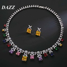 Dazz Luxury Colorful Geometric Square Women Wedding Cubic Zircon Necklace Earring Indian Jewelry Set Addiction Gift 2019