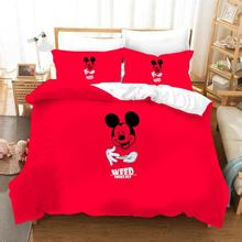 Disney Mickey Minnie Mouse Pattern Comfortable Quilt Cover Pillowcase Gift Bedding Set Children Bedroom Decoration Home Textile