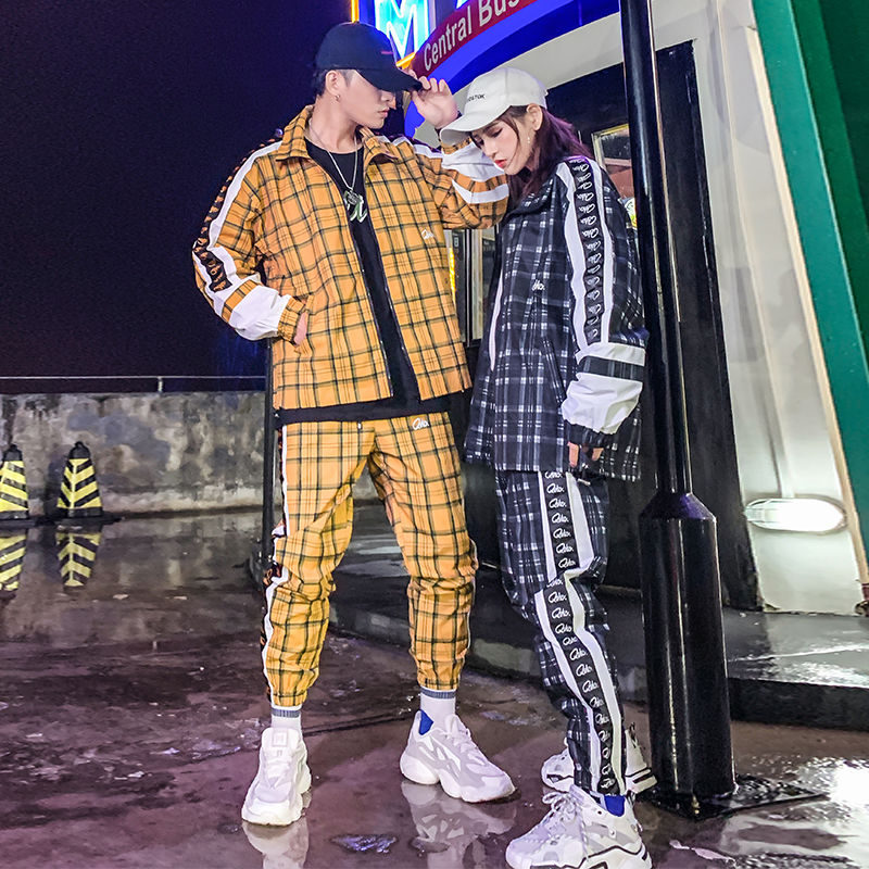 Plaid Jacket Coat Spring Hip Hop Street Dance Men's Sets Two-piece Set Plaid Printed Loose Suit Couple Clothes Fashion Tracksuit