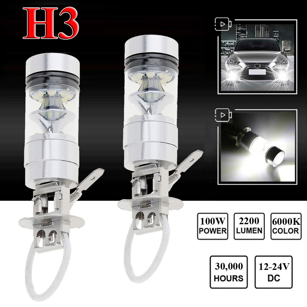 2pcs <font><b>100W</b></font> <font><b>H3</b></font> <font><b>LED</b></font> Fog Light Super Bright Chips Car Driving Bulb 12/24V White image