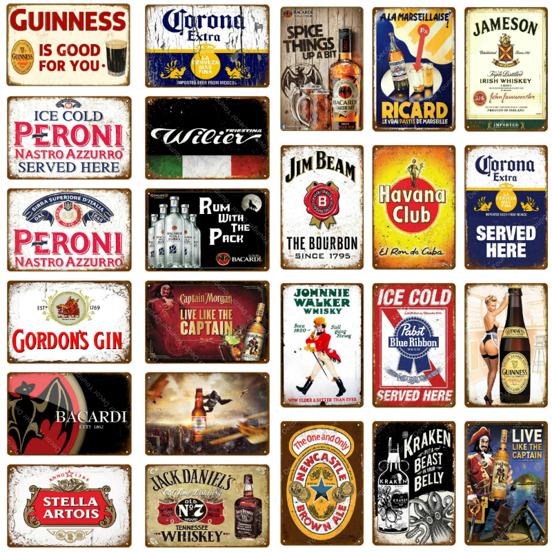 Man Cave Decor Beer Metal Signs Vintage Plaque Whiskey Wall Poster For Bar Pub Club Advertising Wall Decorative Plates YJ121(China)