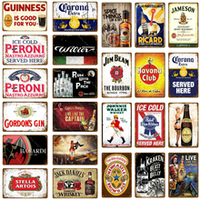 Hombre cueva decoración cerveza Metal signos Vintage placa whisky pared cartel para Bar Pub Club publicidad pared placas decorativas YJ121