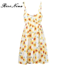 RICININA Fashion Women Dress Summer Beach V Neck Sleeveless Sexy Mini Dresses Ladies Floral Print Dress Party Casual Vestidos white random floral print v neck sleeveless mini dress