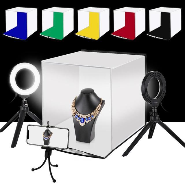 PULUZ Portable Softbox 30*30CM boîte à lumière Studio LED Photo Lightbox et 6 couleurs décors pour la photographie de table LED boîte déclairage