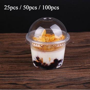 250ml jednorazowe plastikowe kubki z pokrywkami kubek na sałatę przeźroczyste tworzywo sztuczne miska deserowa pojemnik z pokrywką do baru Cafe Home Party tanie i dobre opinie Z tworzywa sztucznego