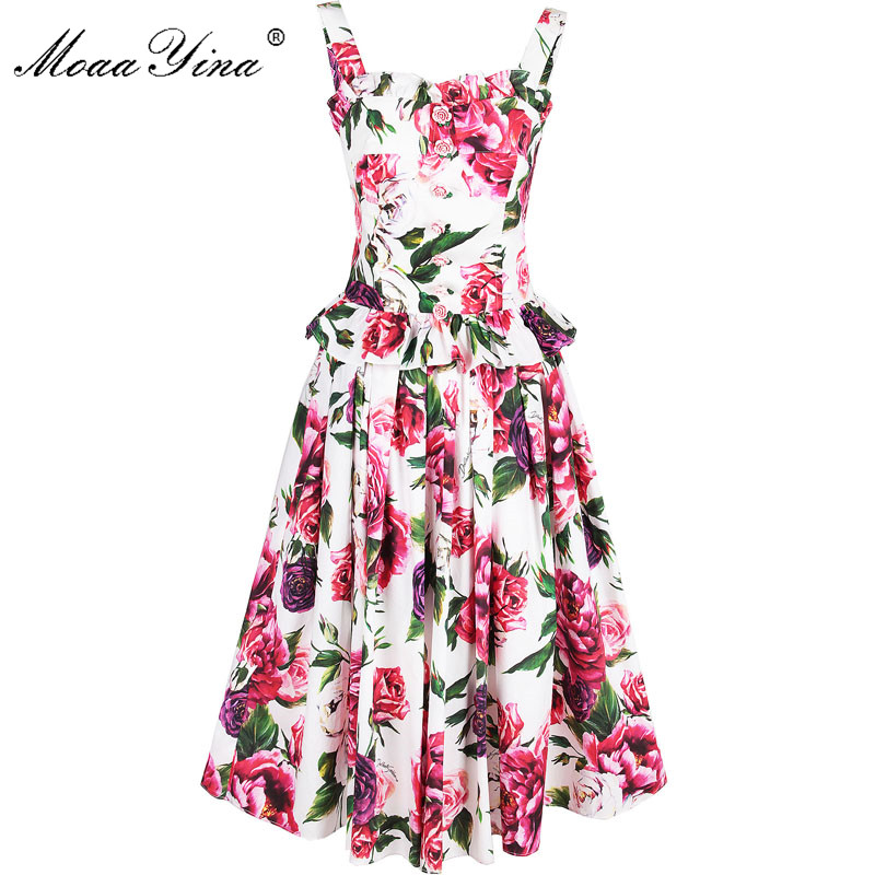 MoaaYina Fashion Designer Set Spring Summer Women Rose Floral-Print Small Sling Tops+skirt Two-piece Suit