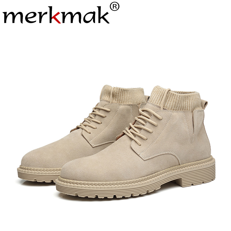 Merkmak New Autumn Winter Men Boots Fashion Retro High Top Ankle Booties British Style Genuine Leather Oxford Boots Big Size