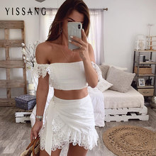Yissang White Lace Summer Two Piece Set Women Sashes Off Shoulder Crop Top And Mini Skirt Suits Backless Sexy Party Matching Set