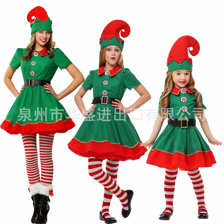 Christmas Clothing Children Christmas Elf Clothing Cosplay Parent-child Matching Outfit Section Adult MEN'S AND WOMEN'S Green Ch