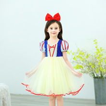 Childrens Summer Snow White princess Girls New Cotton Short Bubble Sleeve party cosplay costume Dress