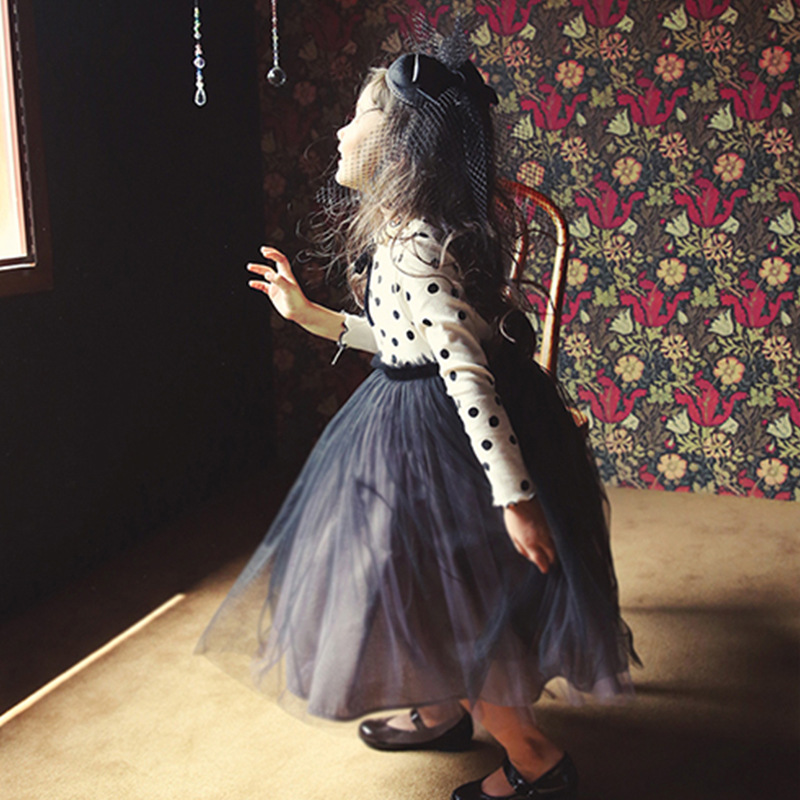 3-8 Years Autumn Dress For Girls Flower Lace Long Sleeve Backless Tulle Dresses Wedding Party Princess Bridesmaid  Formal Gown 6