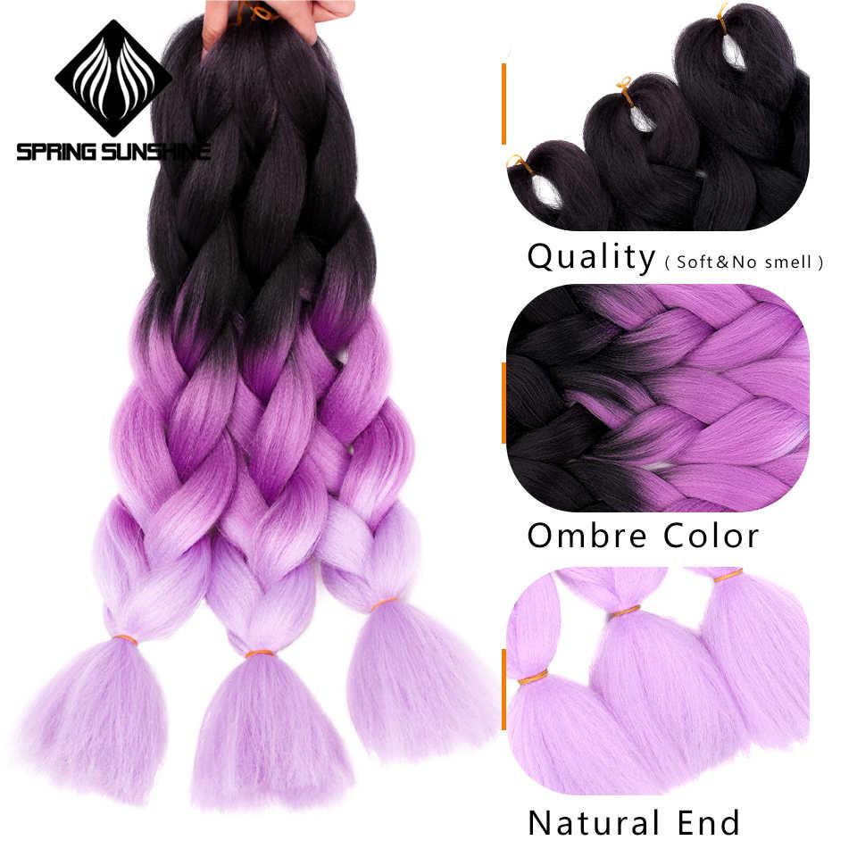 Jumbo trenzas largo Ombre Jumbo sintético trenzado pelo Crochet Rubio rosa azul gris extensiones de cabello africano Viscera 24 pulgadas