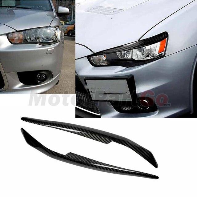 Real Crabon Fiber Head light Eyelid Eyebrow Cover Trim 1pair for Mitsubishi  Lancer EVO X 10 2008-2014 T208 2