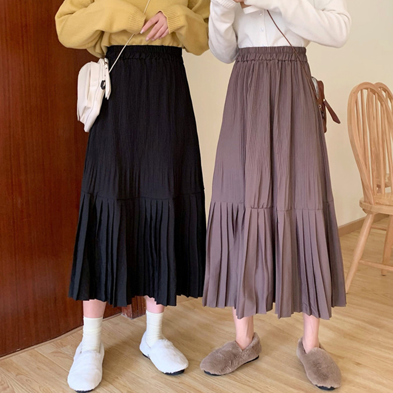 2019 Winter Women Draped Rib Pleated Skirt Elastic High Waist Long Skirt Female Autumn Ladies High Quality Midi Skirt Saia