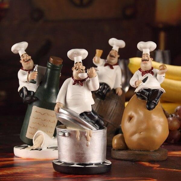 4Pcs/set Chef Figurine Set Resin Cook Statue Gift Craft Ornament Decor Art