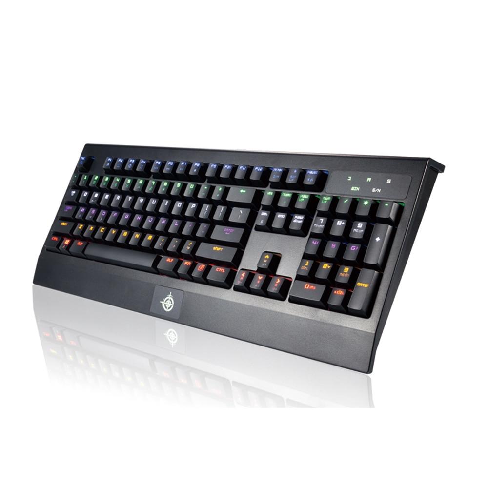 Clavier de jeu de raffineur magique de LED d'arc-en-ciel de barre d'internet imperméable Anti-image fantôme axe bleu Keycaps 104 touches clavier mécanique