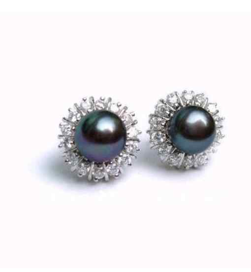 Jewelry Pearl Earring 8-9mm Akoya Black Natural Pearl Earring Free Shipping
